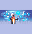 arab business man wearing 3d glasses virtual vector image vector image