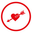 arrow heart rounded icon vector image
