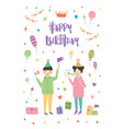 birthday greeting card with boy and girl wearing vector image vector image