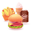 burger set or icon vector image