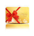 business card with bow vector image vector image