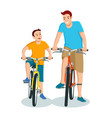 cartoon father and son riding bicycle vector image