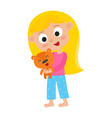 cartoon pretty girl with small cute teddy bear vector image vector image