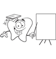 Cartoon tooth with a sign vector image vector image