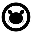 cat head icon black color in circle vector image vector image