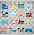 city buildings icons on transparent background vector image vector image