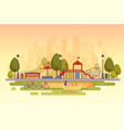 city park with playground sunset background vector image