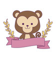 cute monkey with ribbon and branches leafs vector image vector image