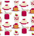 desserts raspberry dishes cake and jam yoghourt vector image