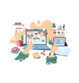 distance learning and online lectures vector image vector image