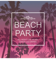 Exotic Banner with Palms for Beach Party vector image