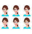 face expressions of woman in blue blouse vector image vector image
