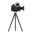 film video camera with tripod vector image