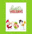 greeting card with santa claus snowman and elf vector image vector image