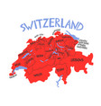 hand drawn stylized map switzerland travel of vector image