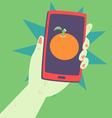 Hand Holding a Phone with an Orange Inside vector image vector image