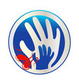 hands mother and son connected logo vector image vector image