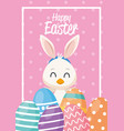happy easter card with little duck and ears rabbit vector image vector image