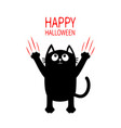 happy halloween black cat claw red scratch glass vector image vector image