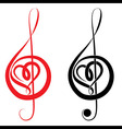 Heart of treble clef and bass clef vector image
