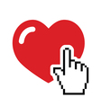 Heart with cursor hand icon - velntines love vector | Price: 1 Credit (USD $1)