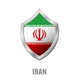 iran flag on metal shiny shield vector image vector image