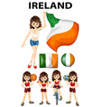 Ireland flag and woman athlete vector image vector image