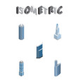 isometric building set of apartment cityscape vector image vector image