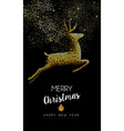 Merry christmas new year deer jumping gold mosaic vector image vector image