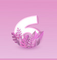 number six pink design with vector image vector image