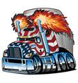 patriotic american flag semi truck tractor trailer vector image vector image