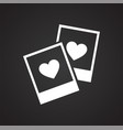 photo cards heart icon on black background for vector image