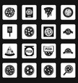 pizza icons set squares vector image vector image