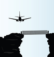 plane above the bridge on the cliff vector image