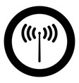 radio signal icon black color in circle vector image vector image