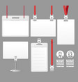realistic detailed 3d id card set vector image