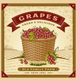retro grapes harvest label with landscape vector image vector image