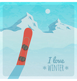 retro with snowy mountains and snowboard vector image vector image