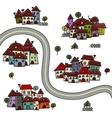 Road and houses cityscape cartoon for your design vector image vector image