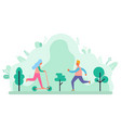running man in park jogging and riding scooter vector image vector image