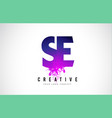 se s e purple letter logo design with liquid vector image vector image