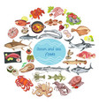 sea and ocean food round concept vector image vector image