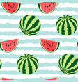 seamless pattern of watermelon whole a piece vector image vector image