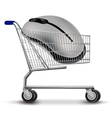shopping cart with mouse vector image vector image