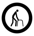 sick man icon black color in circle vector image vector image