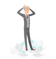 stressed businessman having lots of work to do vector image vector image