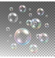 Transparent multicolored soap bubbles set vector image