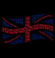waving british flag collage of exit direction vector image vector image