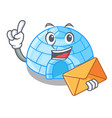 with envelope cartoon dome igloo ice house snow vector image