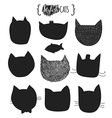 Doodle silhouettes of cats Muzzle cat vector image
